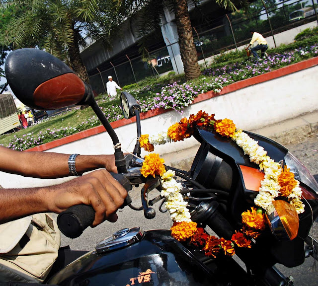 motorcycle with flowers
