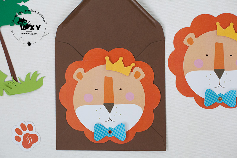invitatie leu, invitatie zodia leului, invitatie botez, invitatie personalizata, invitatie deosebita, invitatie botez handmade, vixy.ro, leu, papetarie personalizata, invitatii botez, invitatii petreceri personalizate, invitatii zodii