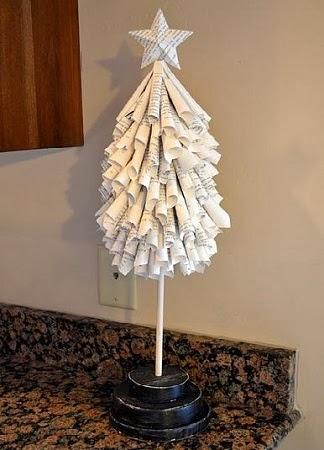 Arboles de navidad con papel de diario - Arbol de navidad con papel ...