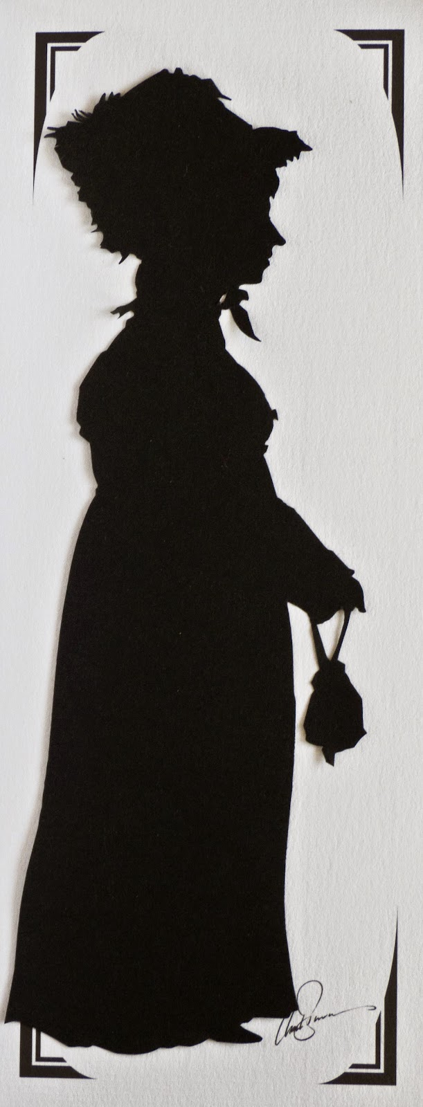 Silhouette of Rachel Knowles in Regency costume by The Roving Artist