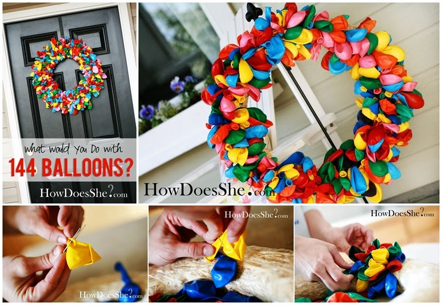 Birthday Wreath: What would you do with 144 Balloons