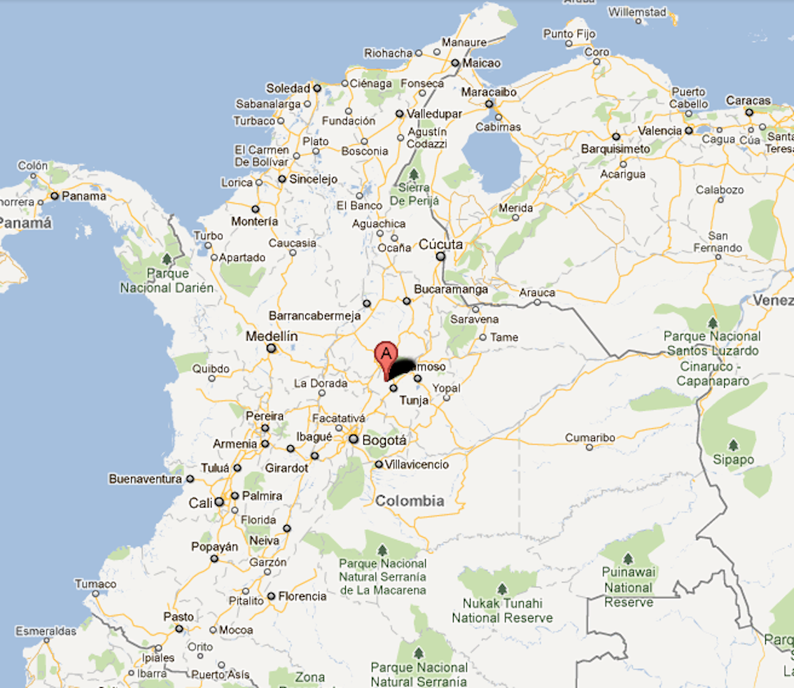 Mapa De Boyaca Villa De Leyva