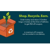 Shop Today and Return 3 bags or boxes to Get Rs 50 off Coupon via grofers :Buytoearn