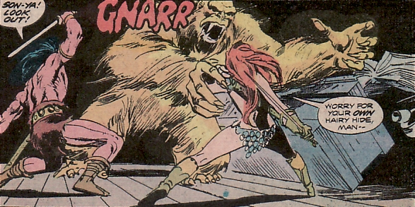 Conan the Barbarian #44, Conan and Red Sonja fight a giant man-ape