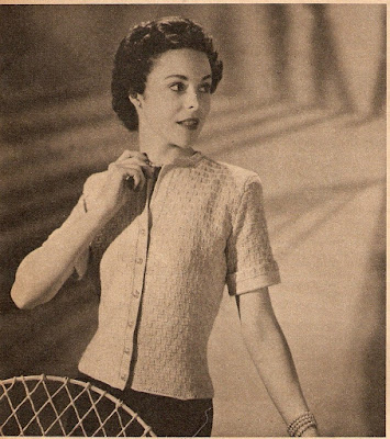 The Vintage Pattern Files - Free 1950's Knitting Pattern - Cabled Cotton Cardigan
