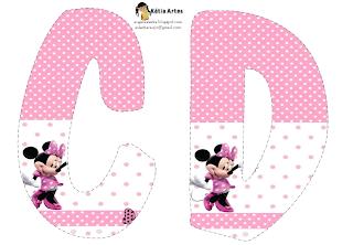 Lindo alfabeto de Minnie saludando, en rosa y blanco CD.