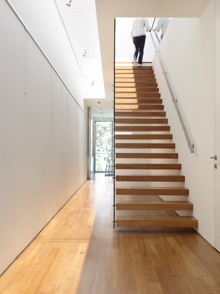 Wooden stairs in Jln Angin Laut dream home by Hayla Architects