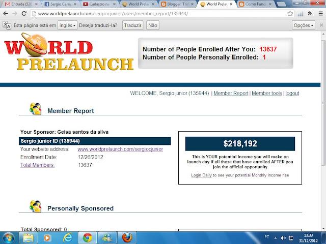World Prelaunch Cadastre Gratis e posicione 218.192 dólares em 5 dias worldprelaunch