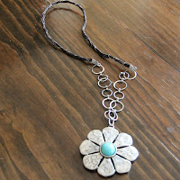 Turquoise and Metal Desert Flower Necklace by hotGlued