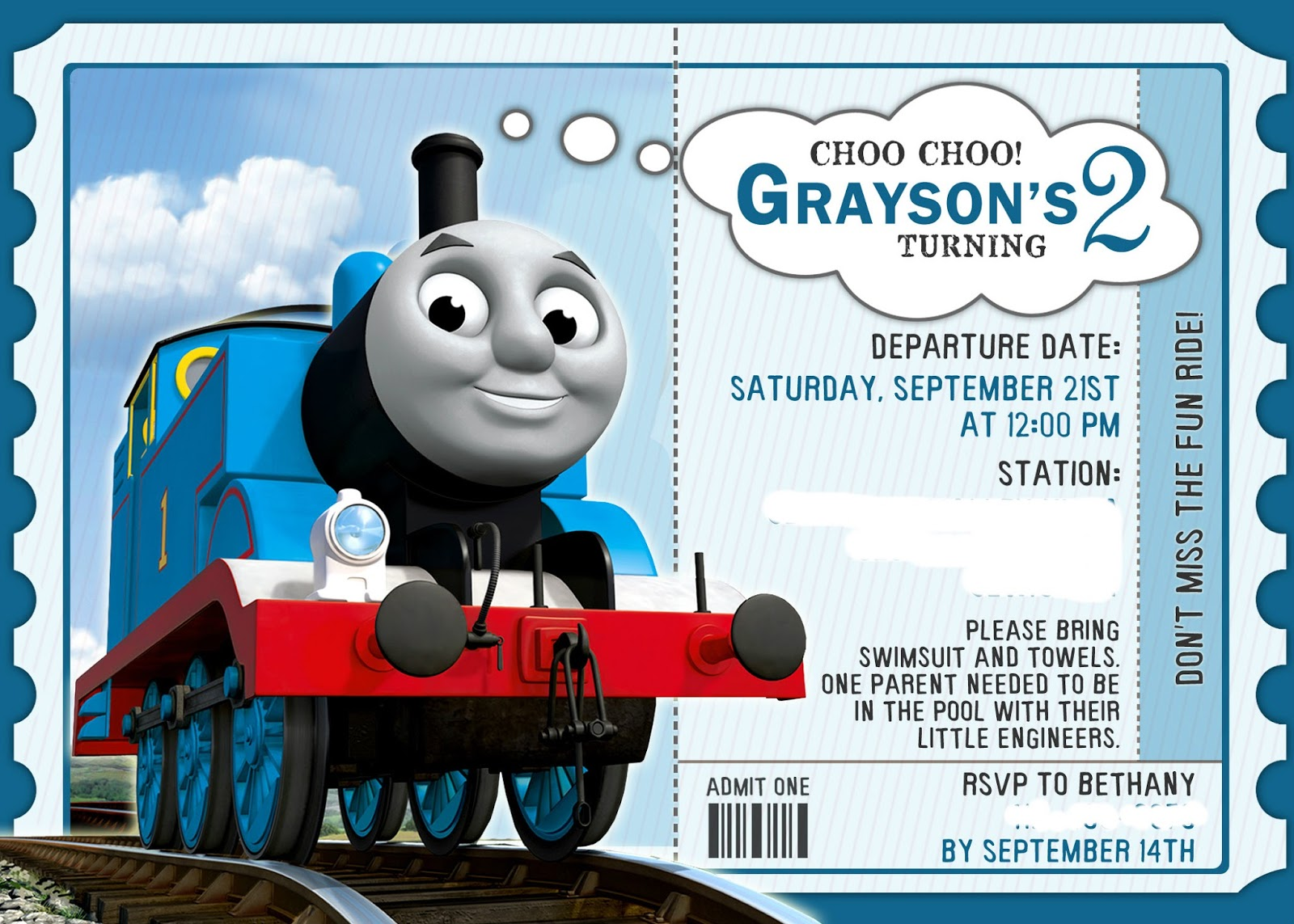 In This Crazy Life Second Birthday Party Planning Is In Full Swing - Birthday invitation card thomas and friends