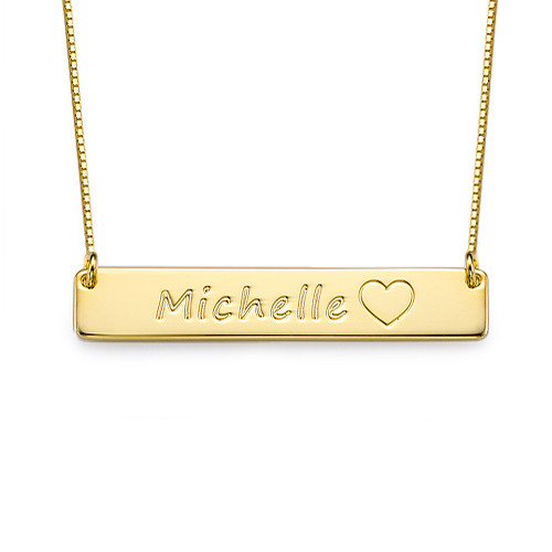 Gold Plated Bar Necklace with Icons