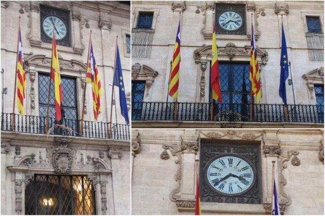 Fachada del Ayuntamiento de Palma de Mallorca con su reloj, En Figuera
