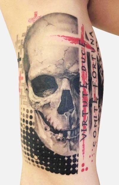 Neu style skull trash polka tattoo