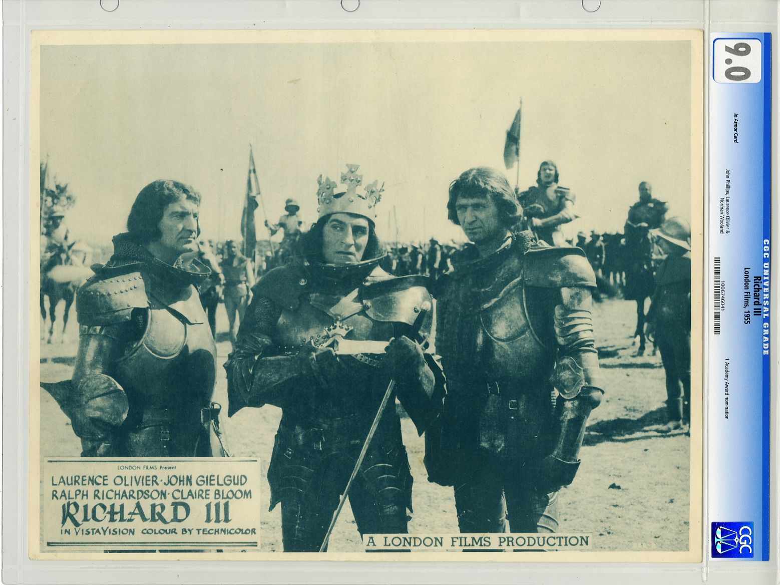 Lobby card of Laurence Olivier in armor and crown in Richard III movieloversreviews.blogspot.com