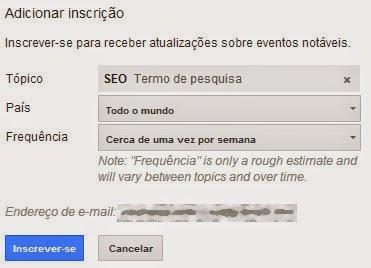 Modelo de como realizar pesquisa no Google Trends via e-mail