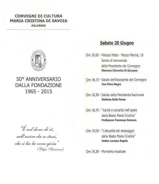 A palazzo Fatta di Palermo, Convegno per la Beata Maria Cristina di Savoia