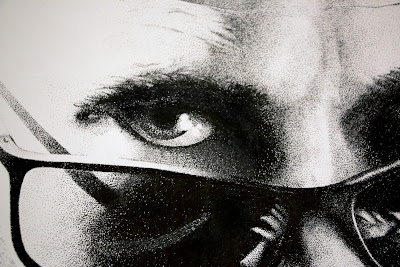 Close up of Black and white Drawing. Portrait / Headshot of skydiver wearing parachute and sunglasses created out of ink on paper.