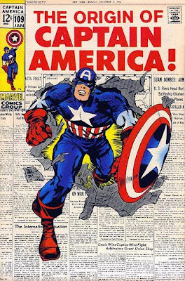 Captain America #109, Cap burst out of a newspaper front page, in readiness for the retelling of his origin, Jack Kirby cover