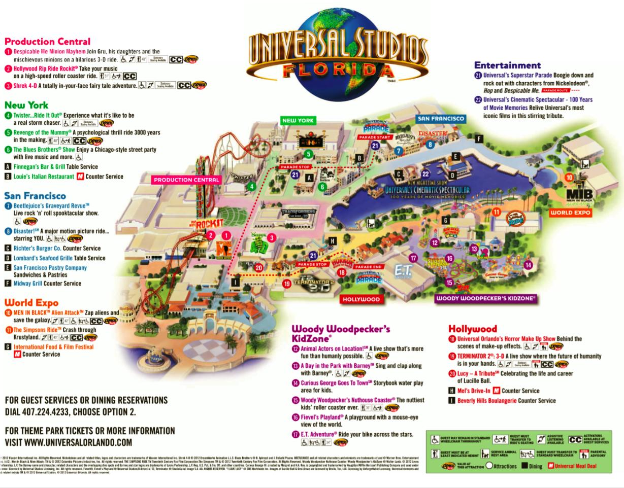 Mapa do Parque Universal Studios em Orlando