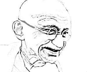 Sketch of Mahatma Gandhi smiling