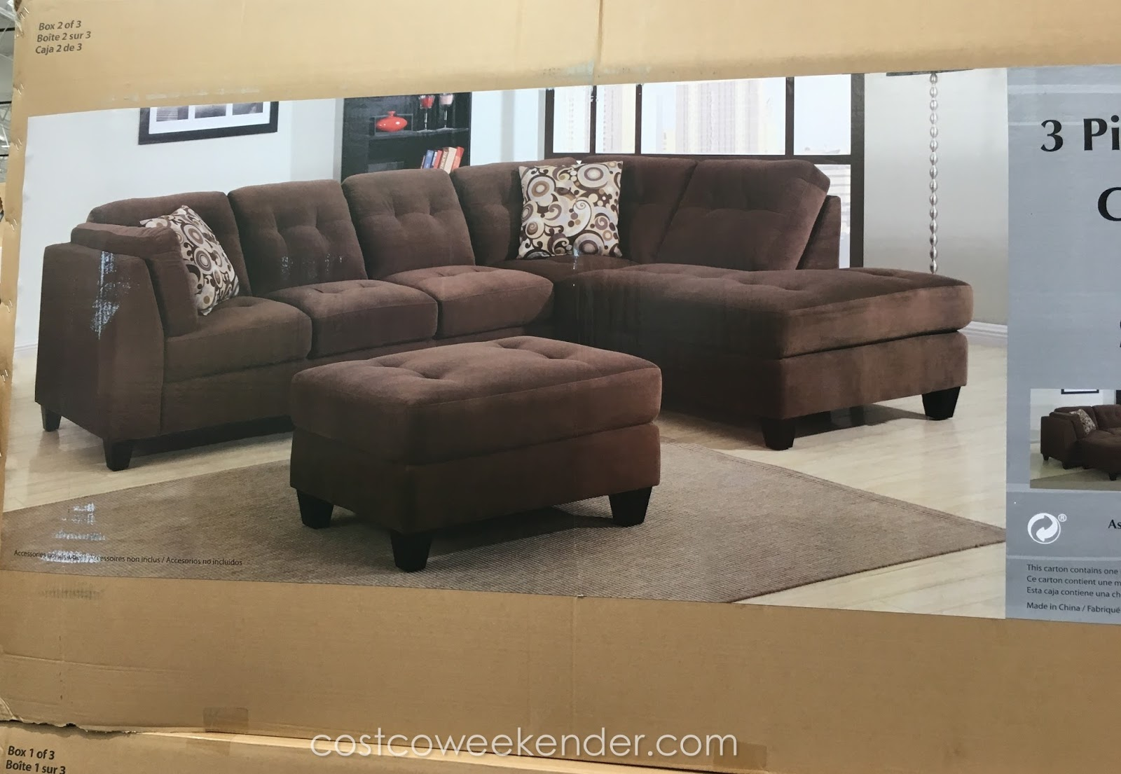 Mstar 3 Piece Modular Fabric Sectional With Ottoman Costco Weekender
