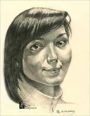 Ukrainian girl portrait (cross-hatching)