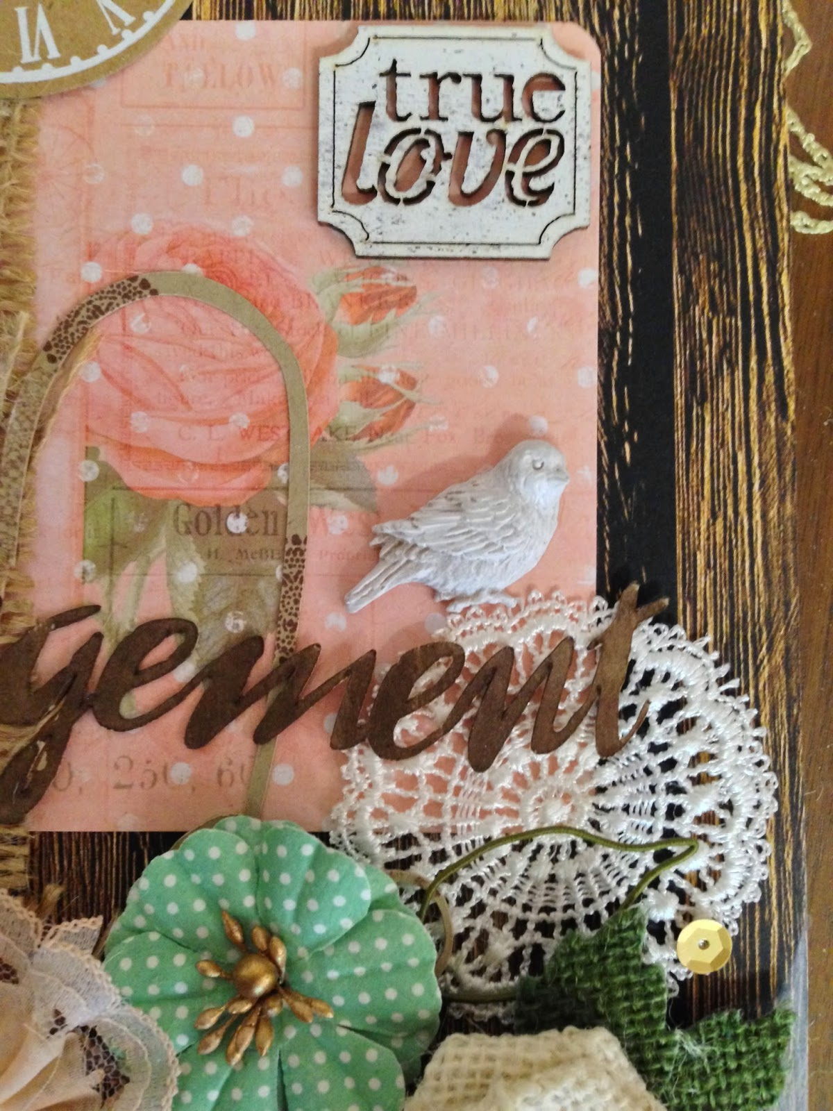Detail of An Engagement by Alice Scraps Wonderland.  Detail of open heart die cut, a freebie from her blog!
