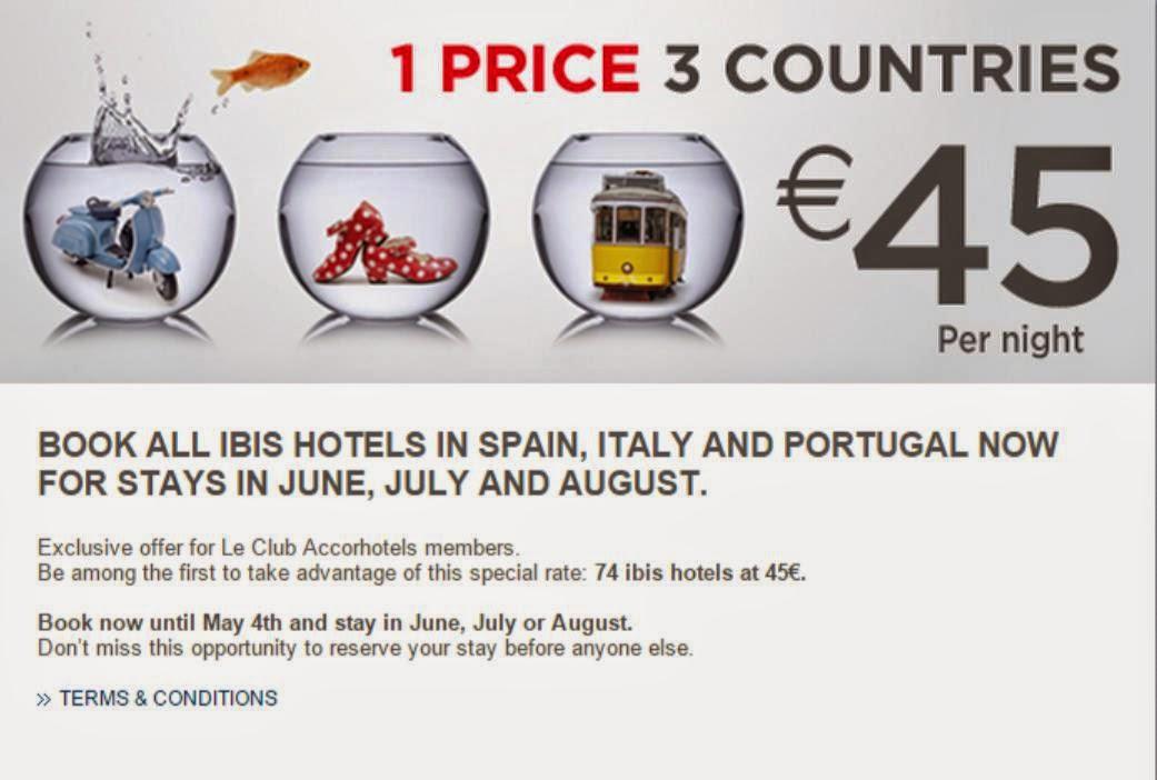 全部【45歐元】一晚,西班牙、 意大利 、 葡萄牙 74 間 ibis 宜必思酒店,今日已開賣!