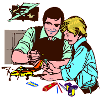 Parent and Child working on model
