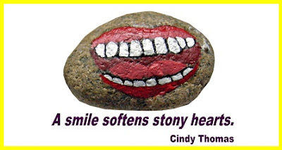 painted rocks, quote, smile, Stony Face, Cindy Thomas