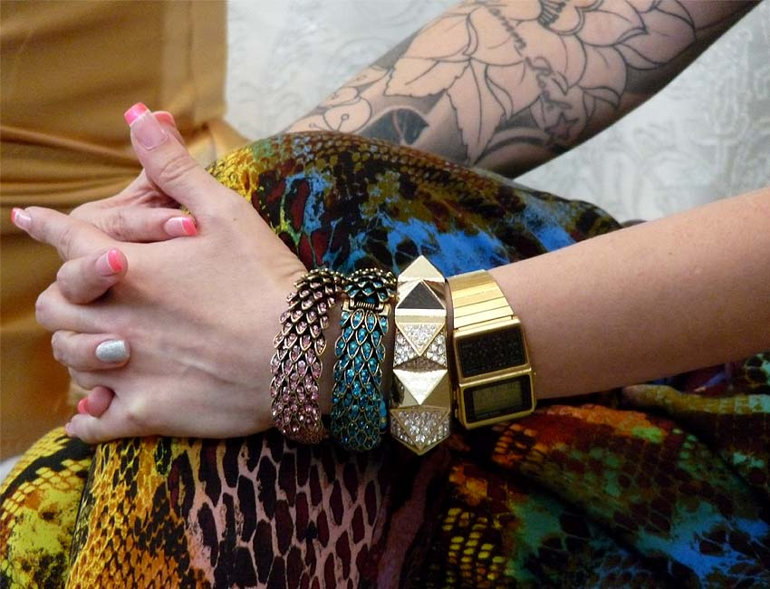 tattoos-girls-bangles-animal-print-watch-gold