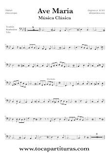 Ave María Partitura para Trombón, Tube Ellicón y Bombardino en clave de fa en cuarta línea del Ave María de Shubert. Sheet Music for trombone, tube and euphonium. Ave María by Shubert (music scores)