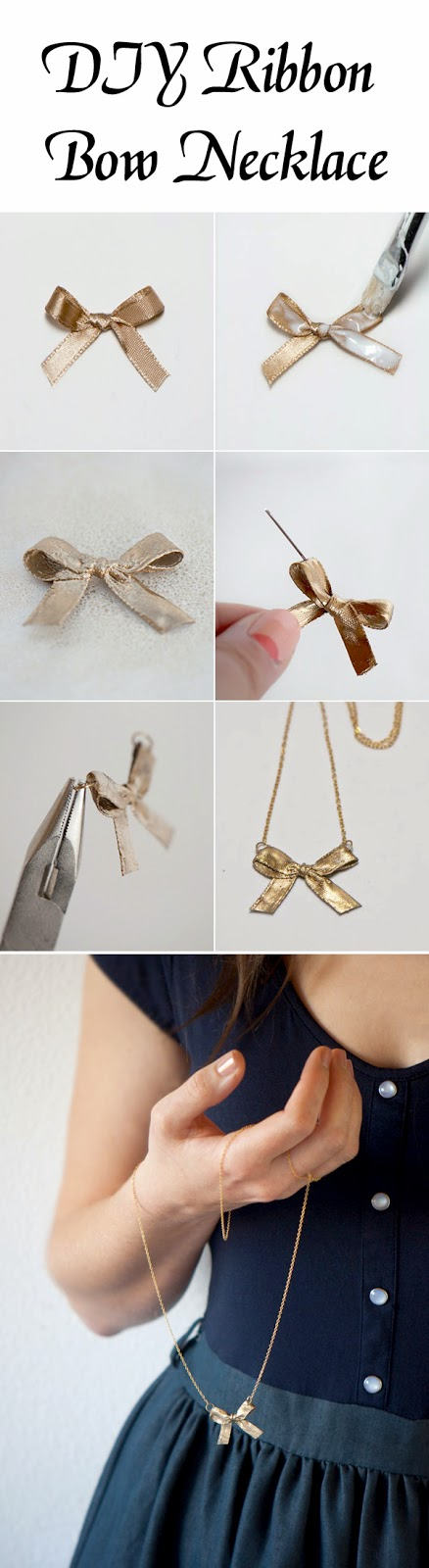 DIY Ribbon Bow Necklace