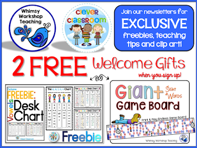 FREE sight words game board and vowels desk strips