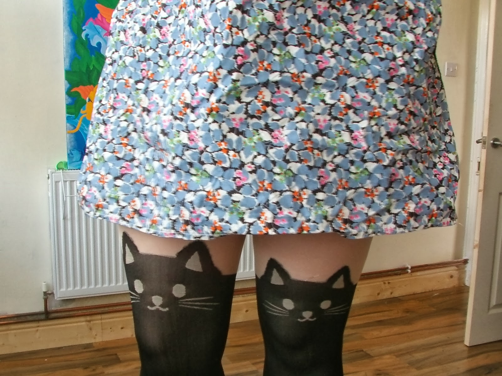 Cat tights and floral dress
