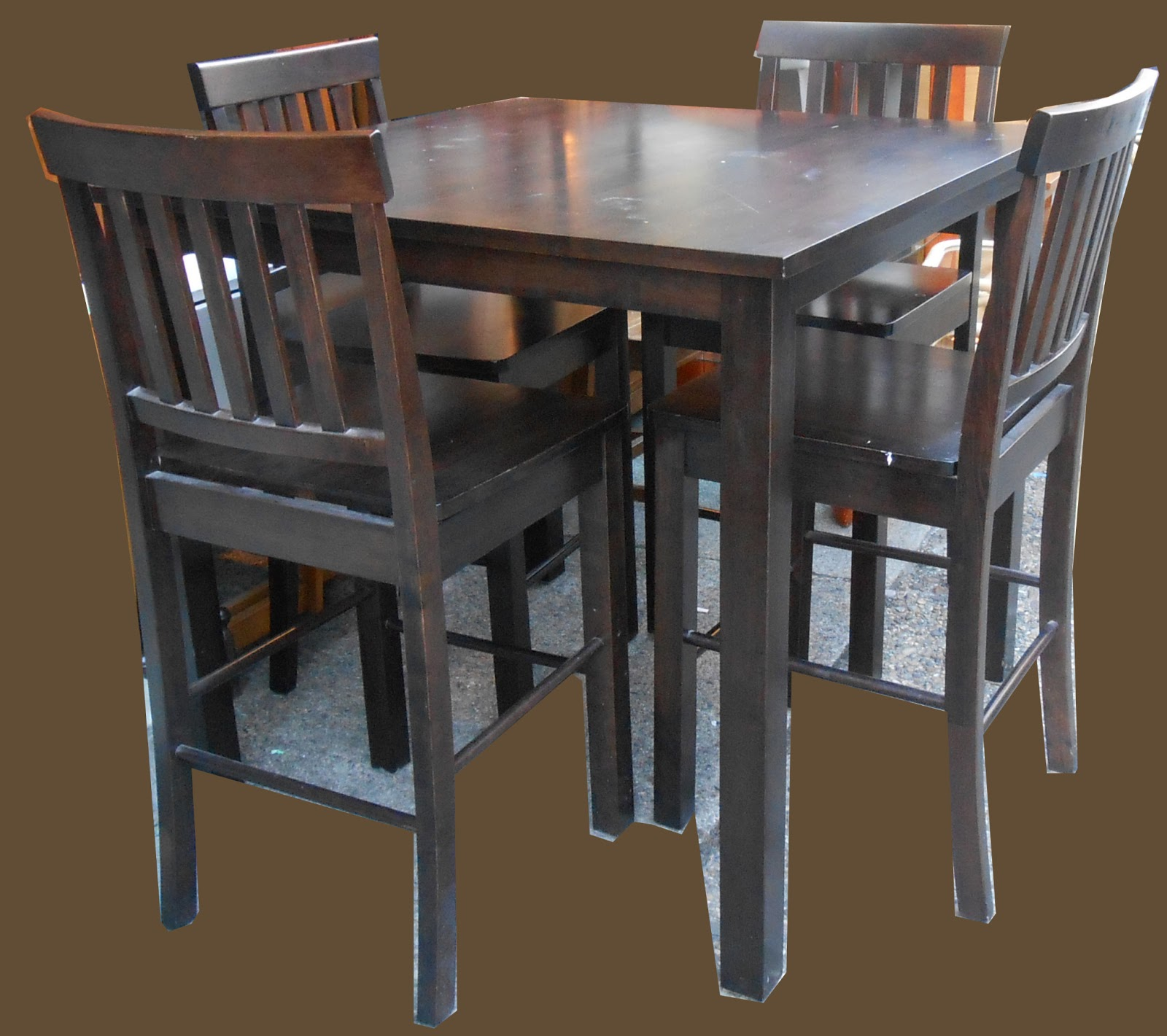 Uhuru furniture collectibles pub table and 4 chairs sold for Table and chairs furniture