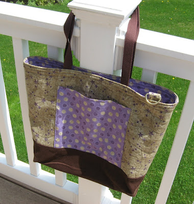 Quilted Tote Bag with Zippered Extension
