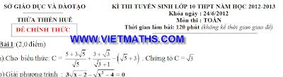 đề thi vào lớp 10 môn toán cả nước 2012 - 2013, đề toán tuyển sinh vào cấp 3