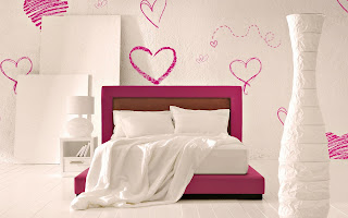 Interior Bed Hearts Style HD Wallpaper
