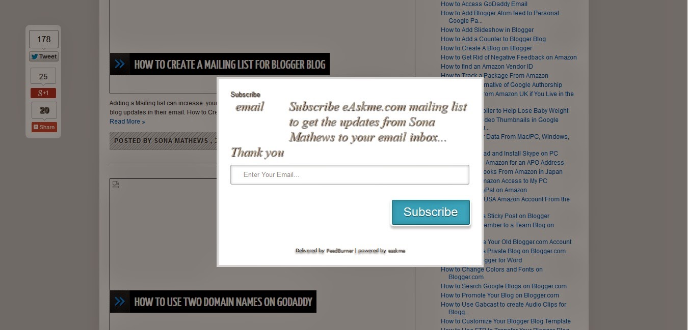 How to Add One Time Stylish Popup Email Subscription Box : eAskme