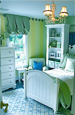 girls room, girl's room, green and yellow, blue, yellow, green, decorating, design, interior design, interior decorating