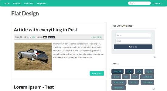 Flat Design Twitter Bootstrap Blogger Template