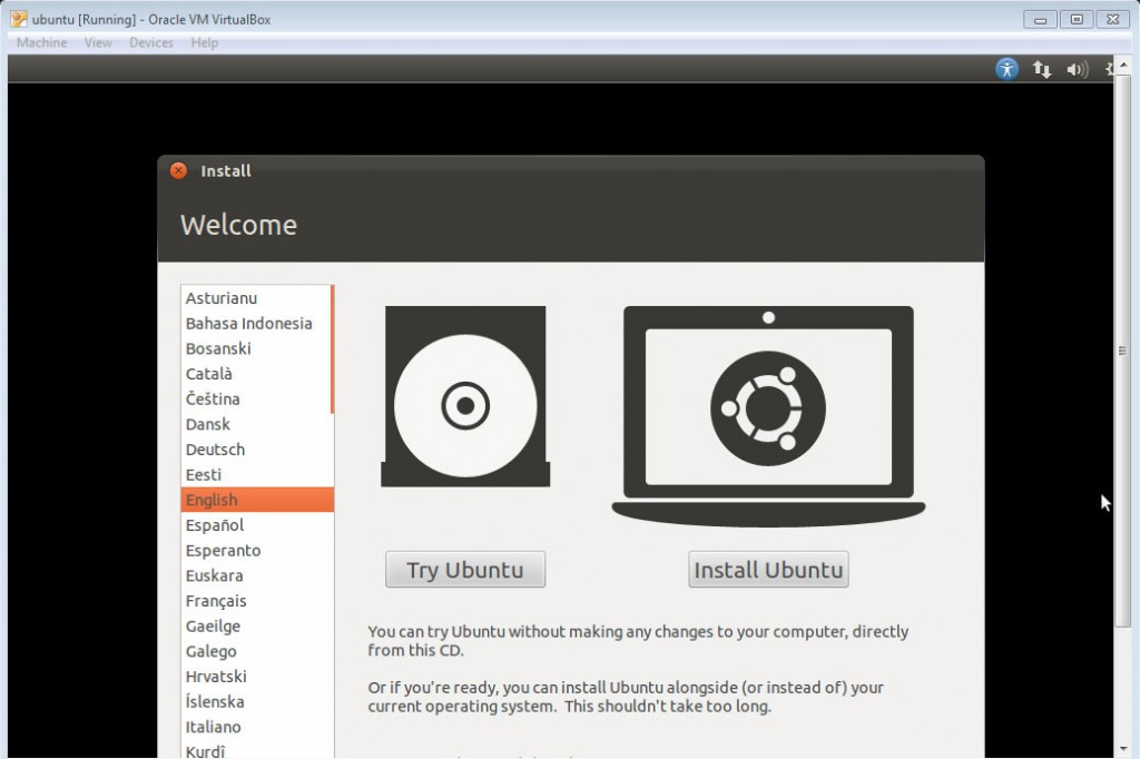 Ubuntu Running Oracle VM VirtualBox
