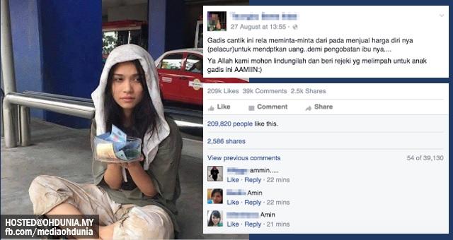 Siapakah gadis cantik meminta sedekah yang viral di media sosial ini?