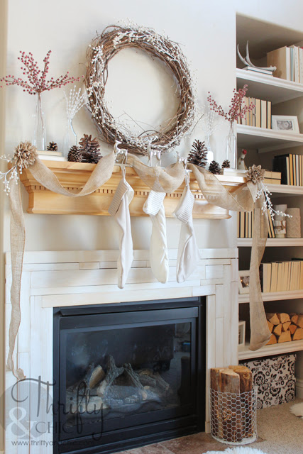 Burlap and White Christmas Mantel