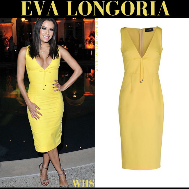 Eva Longoria in bright yellow midi dress Dsquared2 what she wore june 16