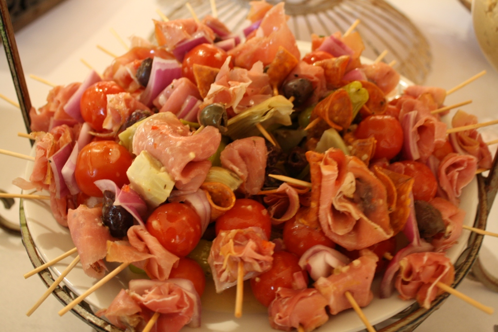 Antipasto Skewers with an Herb Vinaigrette