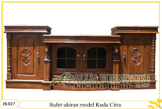 Buffet ukiran kayu jati model kuda citra