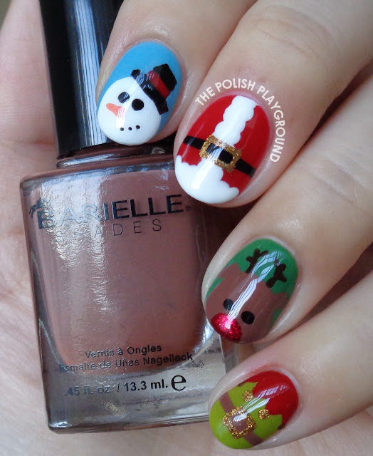 Festive Holiday Christmas Characters Nail Art