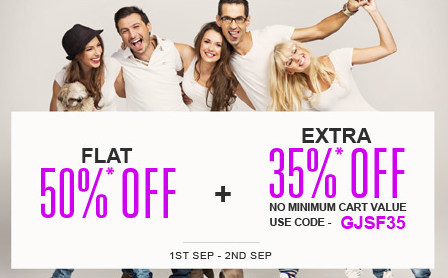 Great Jabong Shopping Festival : Flat 50% off + Extra 35% off || No min Cart value